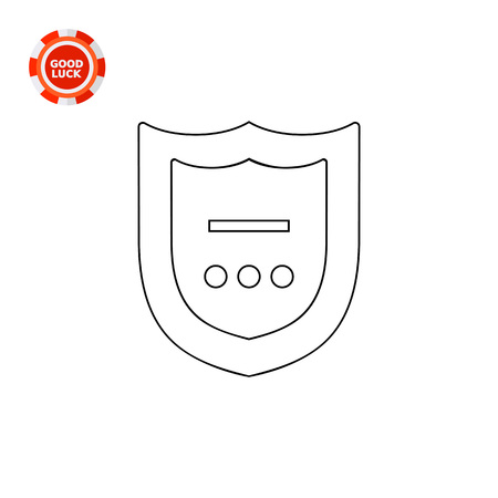 three points: Shield with line and three points in frame. Interface, software, protection. Antivirus concept. Can be used for topics like technology, Internet, marketing. Illustration