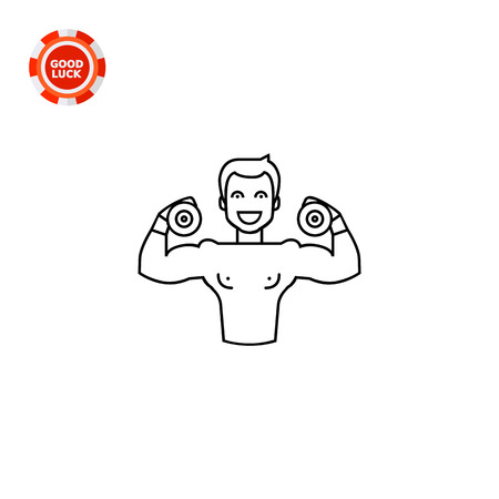 strength training: Well-built male character holding two dumbbells. Training, strength, heavy. Bodybuilding concept. Can be used for topics like sport, health, athletics. Illustration