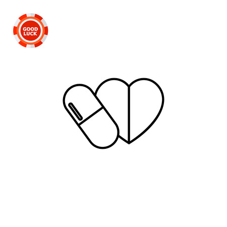 heart disease: Pill capsule and heart. Care, cure, prescription. Heart disease concept. Can be used for topics like medicine, health, therapy, cardiology.
