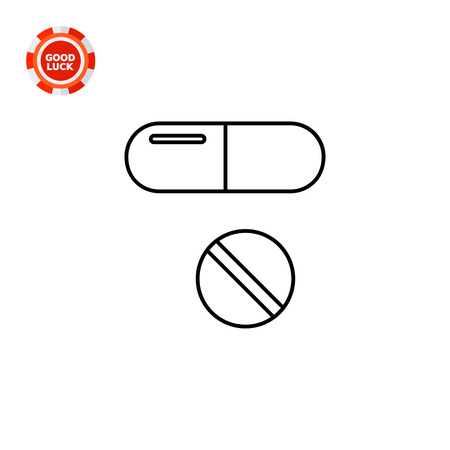 pill prescription: Oval capsule pill and round tablet. Care, cure, prescription. Medication concept. Can be used for topics like medicine, health, therapy, pharmacology. Illustration