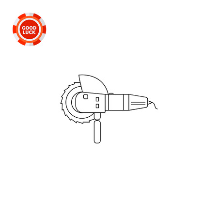 cutoff blade: Circular saw with sharp blade and handle. Cutting, spinning, disc. Saw concept. Can be used for topics like tools, repair, equipment, construction. Illustration