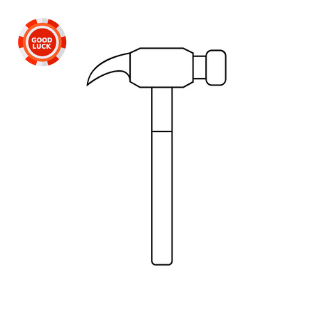 drive nail: Modern claw hammer. Equipment, steel, fixing. Hammer concept. Can be used for topics like tools, repair, technology. Illustration