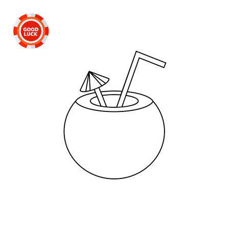 refreshment: Illustration of coconut cocktail with straw and umbrella. Drinking, beverage, refreshment. Cocktail concept. Can be used for topics like beverage, cocktail, summer drinks Illustration