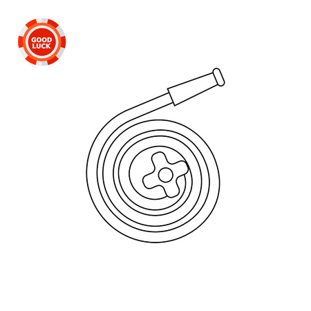 watering hose: Coiled hose with tap. Household, watering, work. Garden equipment concept. Can be used for topics like gardening, agriculture, equipment.
