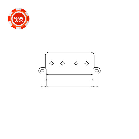 Couch with decorated back and armrests. Comfort, decorative, seat. Soft furniture concept. Can be used for topics like furniture, interior, fashion.