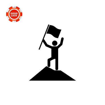 Man reached mountain top holding flag. Success, goal, challenge. Achievement concept. Can be used for topics like business, management, finance. Illustration