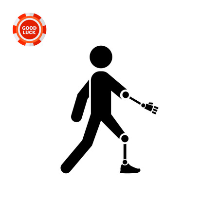 limb: Person with artificial arm and leg. Limb, amputated, care. Disabled concept. Can be used for topics like medicine, health, marketing.