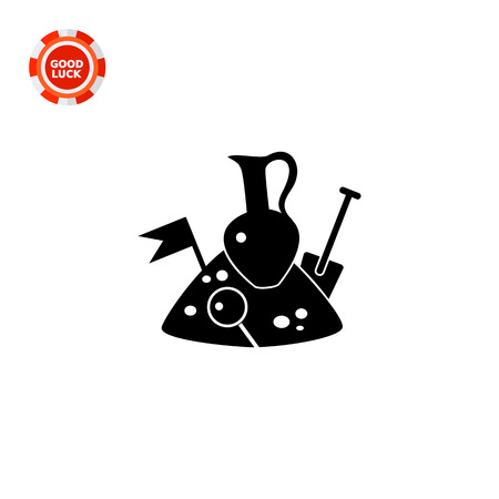 excavation: Monochrome vector icon of jug, spade, flag and loupe on pile of soil representing archeology concept