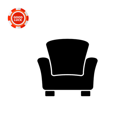 armrests: Monochrome vector icon of armchair with high back and armrests Illustration