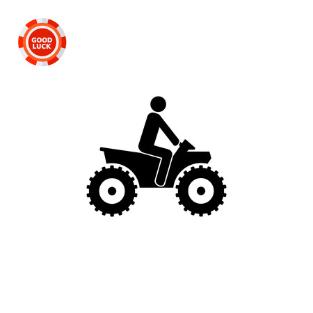 Person riding quad bike. ATV, male silhouette, four-wheeler. Transport concept. Can be used for transport, leisure activities, extreme