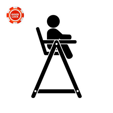 high chair: Child sitting in high chair for feeding. Baby chair, childhood, furniture. Baby concept. Can be used for topics like childhood, baby feeding, furniture