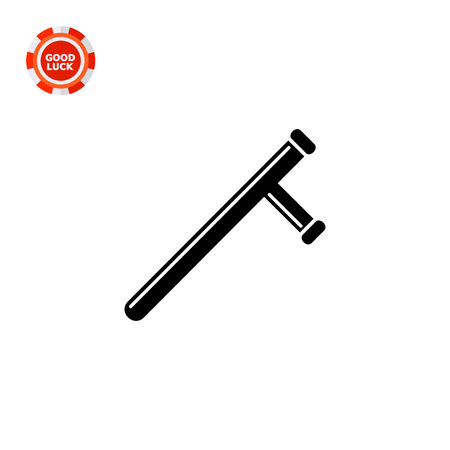 truncheon: Monochrome vector icon of baton, police short stick with handle