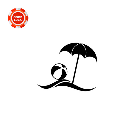 recess: Sea beach with sun umbrella and beach ball. Summer, resort, sand. Beach concept. Can be used for topics like vacation, leisure, tourism.