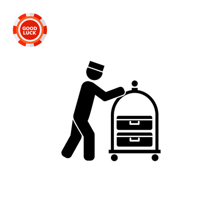 trolley case: Male silhouette pushing luggage cart. Bell boy, hotel, baggage. Hospitality concept. Can be used for topics like hotel, travel, hospitality industry, service