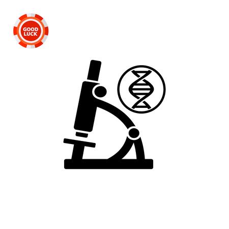 cromosoma: Monocromo vector icono de la molécula de ADN y el microscopio que representa el concepto de biología
