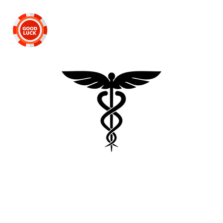 mythology: Symbol of medicine. Emblem, snake, care. Caduceus concept. Can be used for topics like medicine, health, healthcare, mythology.