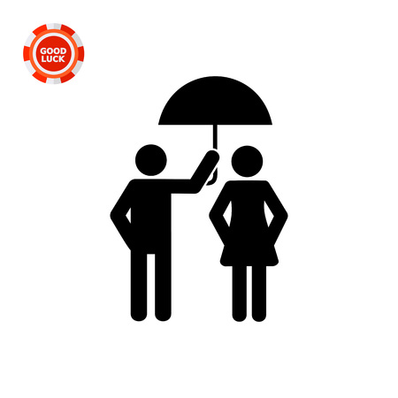 attentive: Man holding umbrella over woman. Care, relationship, protection from rain. Care concept. Can be used for relationship, weather, love