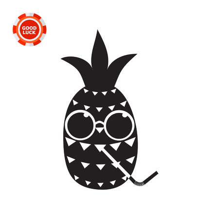 Cartoon pineapple character in glasses and with drinking straw. Summer, sweet, ripe. Fruit concept. Can be used for topics like food, botany, agriculture. Illustration