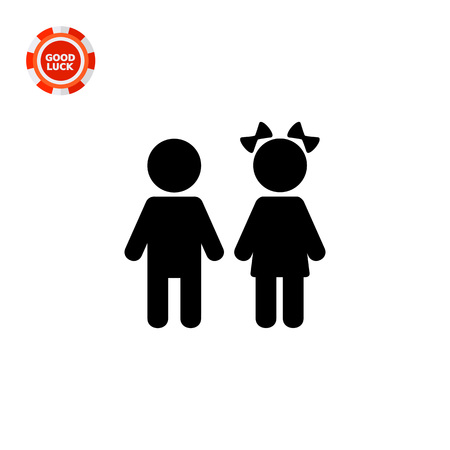 pal: Monochrome vector icon of boy and girl with ribbons silhouettes