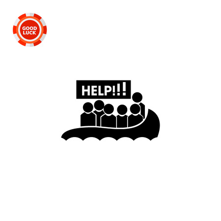 victim war: Boat with refugees asking for help. Danger, threat, violence. Victim concept. Can be used for topics like terrorism, war, immigration. Illustration