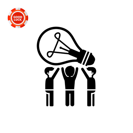 common people: Common idea vector icon. Black and white illustration of people having common idea