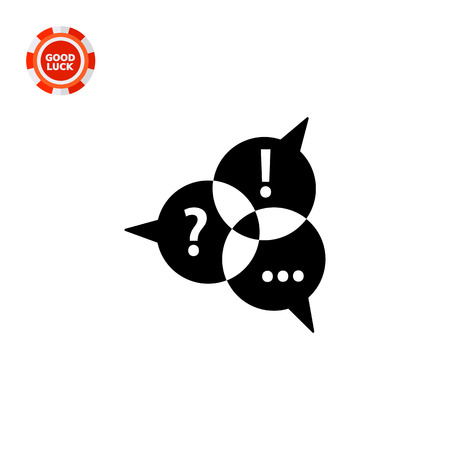Three speech bubbles with punctuation marks. Communication, contact, discussion, chatting. Communication concept. Can be used for topics like business, public relations, social media