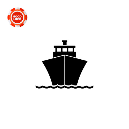 navigating: Monochrome vector icon of passenger cruise liner riding on waves