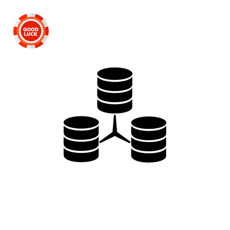 downloading content: Vector icon of three connected stacks of discs representing database concept