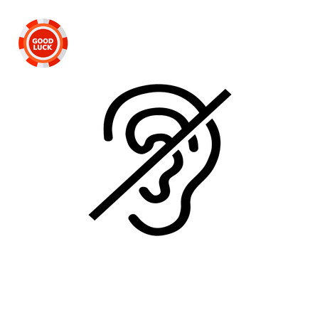 inability: Crossed out ear. Invalid, silence, sense. Disabled concept. Can be used for topics like medicine, health, marketing.