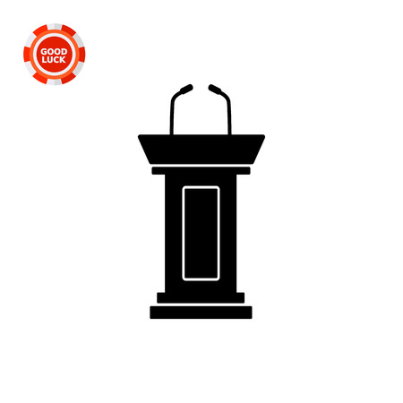 dais: Vector icon of empty podium with two microphones for political debate