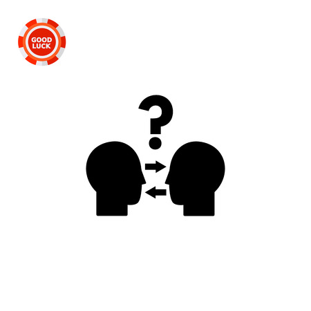 Head silhouettes looking at each other. Conflict resolution, negotiation, dispute resolution. Conflict management concept. Can be used for topics like business, communication, management, relations Banco de Imagens - 63703519