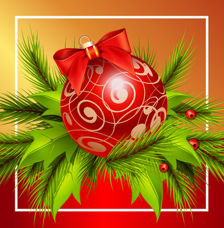 Realistic Christmas ball with fir twigs and mistletoe in frame. Christmas design element. For greeting cards, posters, leaflets and brochures.