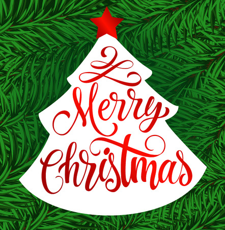 Merry Christmas lettering. Christmas tree silhouette with Merry Christmas inscription isolated on background with fir sprigs. Handwritten text can be used for postcards, banners, posters