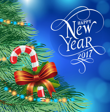 typed: Happy New Year 2017 lettering. New Year Day greeting card with fir tree and candy cane with bow. Typed text. For greeting cards, posters, leaflets and brochures.