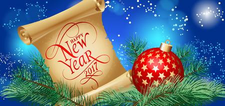 행복 한 새 해 2017 글자입니다. 새 해 인사말 카드 전나무 나무와 공. 입력 된 텍스트. 인사말 카드, 포스터, 전단지 및 팜플렛.