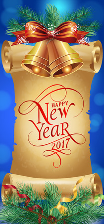 typed: Happy New Year 2017 lettering on scroll. New Year Day greeting card with fir tree branch, bells, bow. Typed text. For greeting cards, posters, leaflets and brochures.