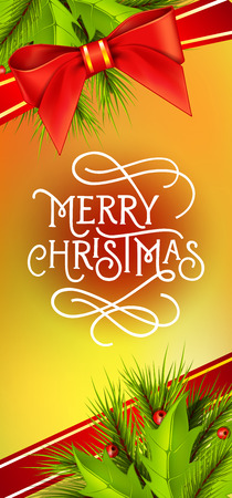typed: Merry Christmas lettering. Christmas greeting card with fir tree twig, mistletoe, ribbon and bow. Typed text. For greeting cards, posters, leaflets and brochures.
