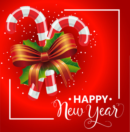 typed: Happy New Year lettering in frame. Christmas greeting card with candy canes and bow. Handwritten and typed text, calligraphy. For greeting cards, posters, leaflets and brochures.