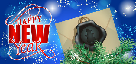 typed: Happy New Year lettering. New Year Day greeting card with fir tree branches and envelope with snowman wax seal. Typed text. For greeting cards, posters, leaflets and brochure. Illustration