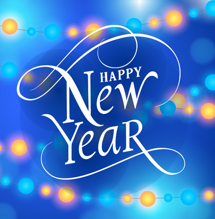 typed: Happy New Year lettering. New Year Day greeting card with lights garlands. Typed text. For greeting cards, posters, leaflets and brochure.