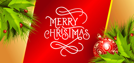 typed: Merry Christmas lettering. Christmas greeting card with fir tree twigs, ball and mistletoe. Typed text. For greeting cards, posters, leaflets and brochure. Illustration