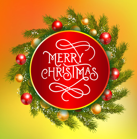 typed: Merry Christmas lettering in circle. Christmas greeting card with decorated fir tree branches around lettering. Typed text. For greeting cards, posters, leaflets and brochure. Illustration