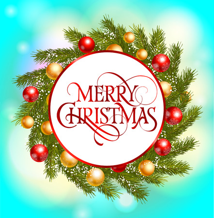 Merry Christmas lettering. Red merry Christmas inscription in circle isolated on Christmas wreath. Calligraphy can be used for postcards, leaflets, greeting cards, posters