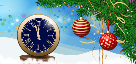 Old vintage clock with Roman numerals and fir sprigs decorated with Christmas balls. Decoration, holiday, celebration. Holiday concept. Can be used for greeting cards, posters, festive design Illustration