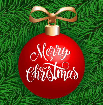 Merry Christmas lettering. Red Christmas ball with Merry Christmas inscription isolated on background with fir sprigs. Handwritten text can be used for postcards, banners, posters