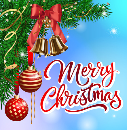 a sprig: Merry Christmas lettering. Merry Christmas inscription with fir sprigs, Christmas balls, jingle bells. Handwritten text with decorative elements can be used for postcards, festive design, posters