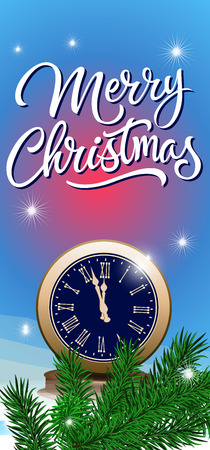 a sprig: Merry Christmas calligraphic lettering. Merry Christmas inscription with fir sprig and old vintage clock. Handwritten text with decorative elements can be used for postcards, festive design, posters