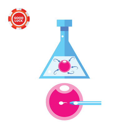 in vitro fertilization: Flask with ovum and sperm, needle injecting spermatozoon into ovum. In vitro, life, reproduction. Artificial fertilization concept. Can be used for topics like medicine, health, gynecology, pregnancy. Illustration