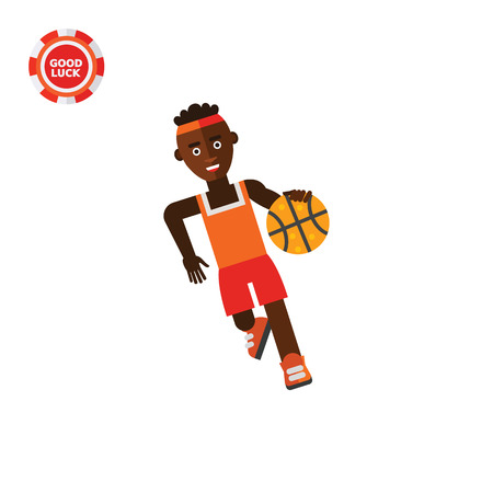 dribble: Illustration of African basketball player moving dribble. Basketball game, sport, leisure activity. Basketball game concept. Can be used for topics like sport, basketball game, leisure activity