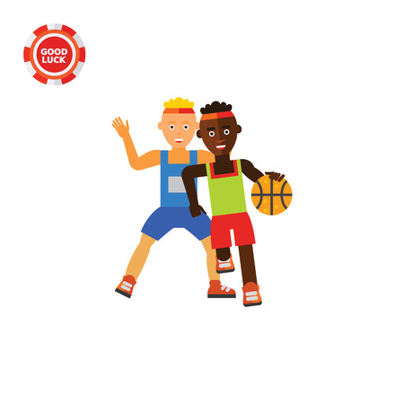 Illustration of two basketball players. Basketball game, sport, playing, leisure activity. Basketball game concept. Can be used for topics like sport, basketball game, leisure activity Illustration